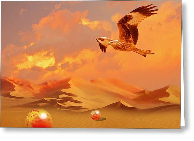 Greeting Card featuring the digital art Mystic Desert Another Planet by Alexa Szlavics
