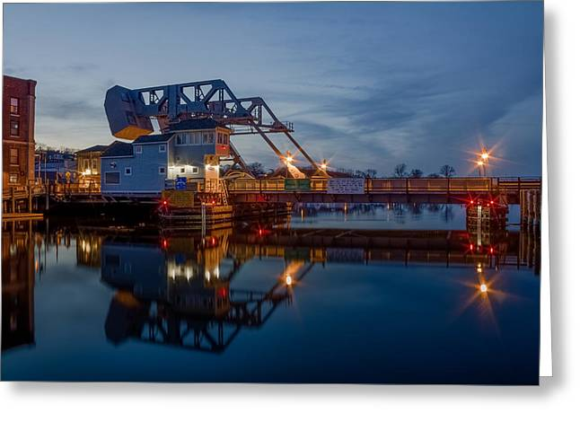Mystic Drawbridge At Twilight Greeting Card