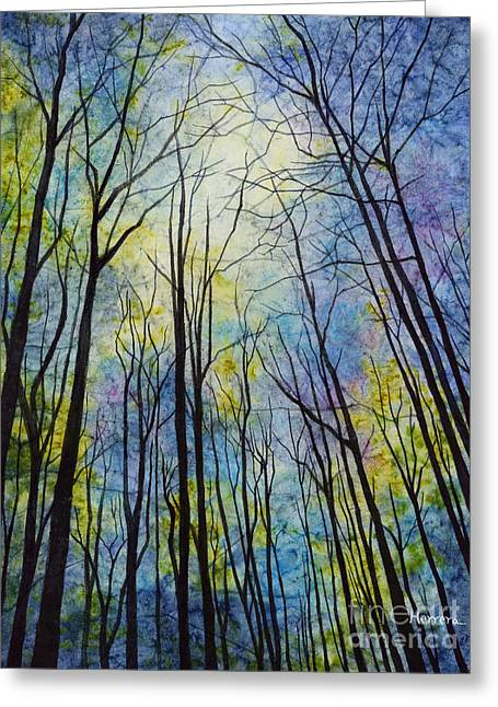 Greeting Card featuring the painting Mystic Forest by Hailey E Herrera