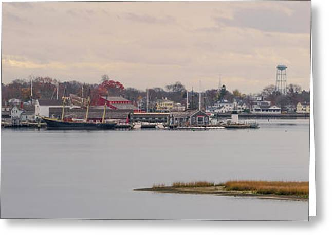 Mystic Harbor Panorama Greeting Card by Bill Cannon