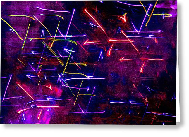 Greeting Card featuring the digital art Mystic Lights 8 by Donna Corless