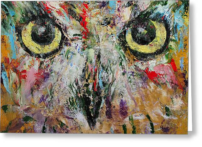 Mystic Owl Greeting Card by Michael Creese