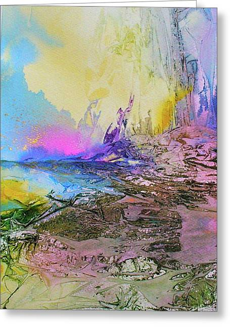 Greeting Card featuring the painting Mystic Rendevous by Mary Sullivan