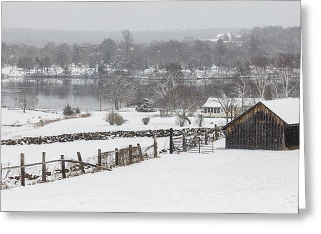 Mystic River Winter Landscape Greeting Card