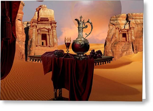 Greeting Card featuring the digital art Mystic Ruins In Desert by Alexa Szlavics