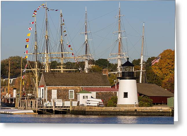 Mystic Seaport Lighthouse Greeting Card by Kirkodd Photography Of New England