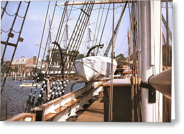 Sailboat Photos Greeting Cards - MYSTIC SEAPORT WINDJAMMERS vintage tall sailing ships Charles Morgan picture decor Greeting Card by John Samsen