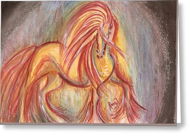 Dancing Abstract Horse Greeting Card by Remy Francis
