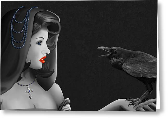 Mystic Woman With Raven Greeting Card by Monika Juengling