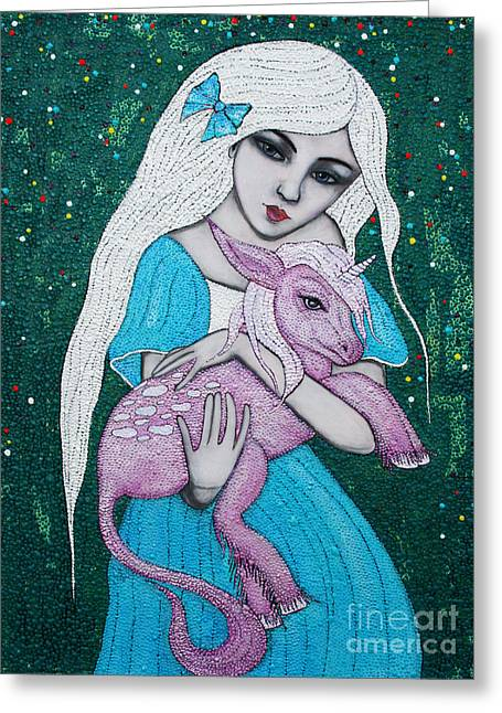 Greeting Card featuring the mixed media Mystical Beginnings by Natalie Briney