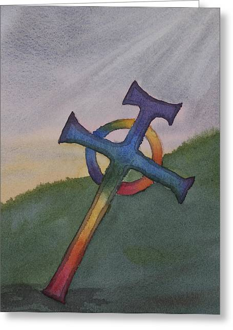 Mystical Celtic Cross Greeting Card by Debbie Homewood