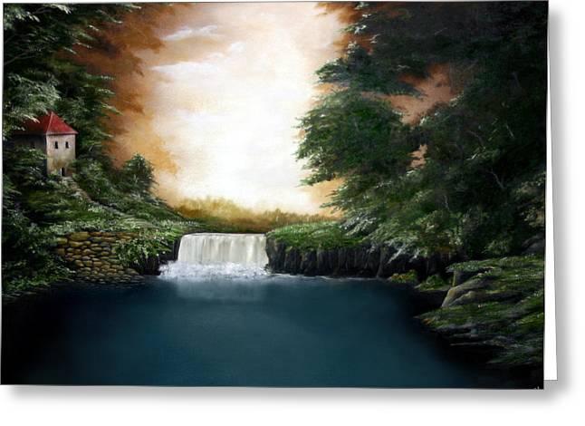 Mystical Falls Greeting Card by Ruben  Flanagan