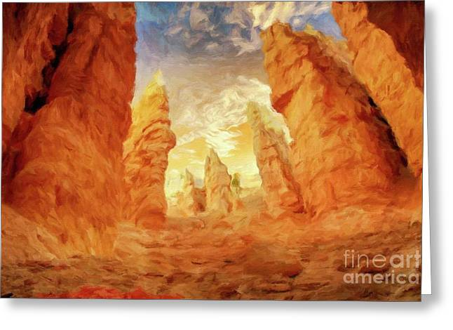 Mystical Landscape By Sarah Kirk Greeting Card by Sarah Kirk