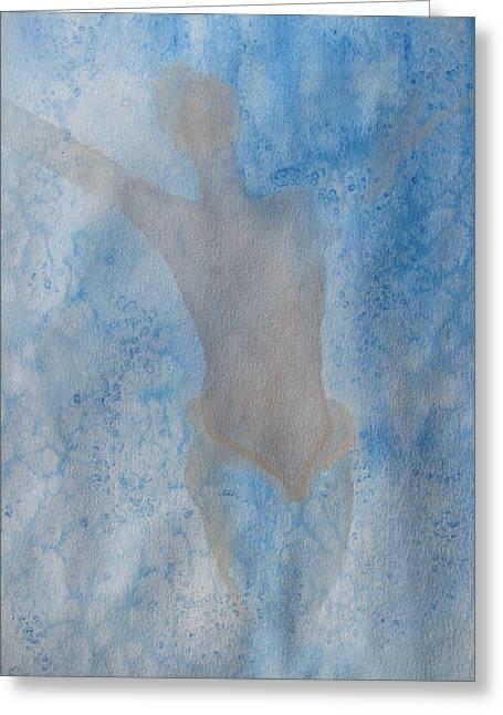 Mystical Merman Water Dance Greeting Card by Lindie Racz