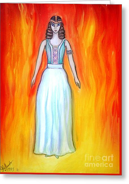 Mystical Space Alien Woman Greeting Card by Sofia Metal Queen