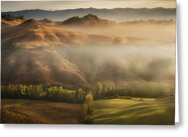 Mystical Waving Fields Tuscany Greeting Card