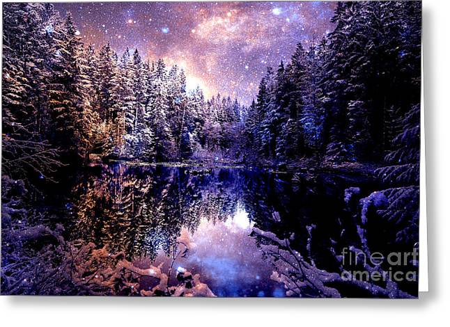 Mystical Wintry Forest Greeting Card