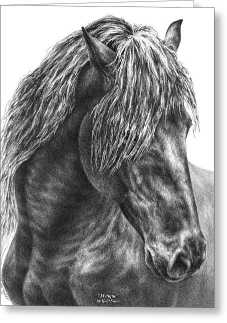 Kelli Drawings Greeting Cards - Mystique - Friesian Horse Portrait Print Greeting Card by Kelli Swan