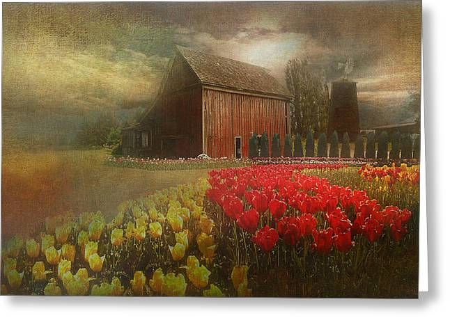 Mythical Tulip Farm Greeting Card by Jeff Burgess