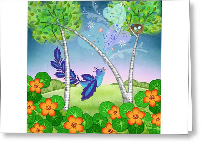 Illustrated Letter Greeting Cards - N is for Nightingale Greeting Card by Valerie   Drake Lesiak