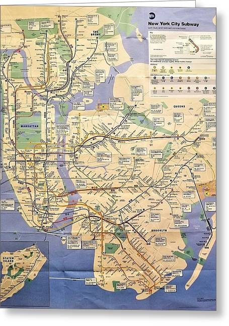 N Y C Subway Map Greeting Card