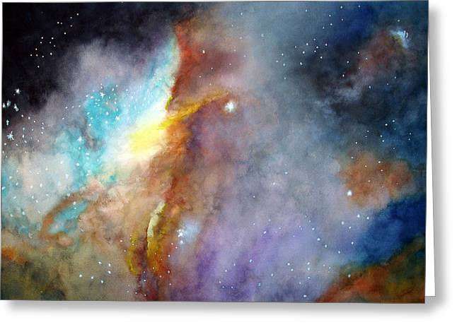 Greeting Card featuring the painting N11b Large Magellanic Cloud by Allison Ashton