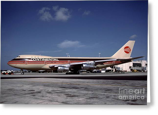N17011, Continental Airlines, Boeing 747-143 Greeting Card
