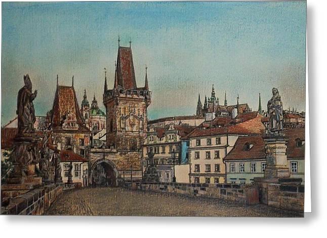 Prague Pastels Greeting Cards - Na Karlovem moste Greeting Card by Gordana Dokic Segedin