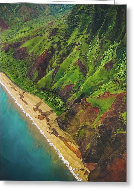 Na Pali Coast Aerial Greeting Card