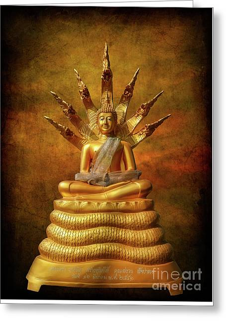 Greeting Card featuring the photograph Naga Buddha by Adrian Evans