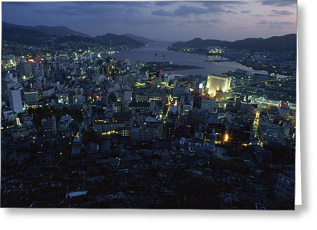 Nagasaki Overlooking Its Harbor At Dusk Greeting Card by James L. Stanfield