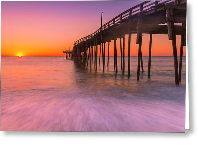 Nags Head Avon Fishing Pier At Sunrise Greeting Card