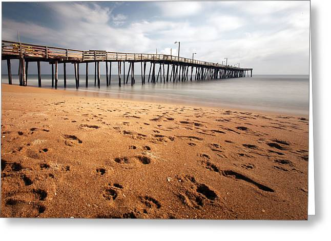 Greeting Card featuring the photograph Nags Head Fishing Pier by Chris Babcock