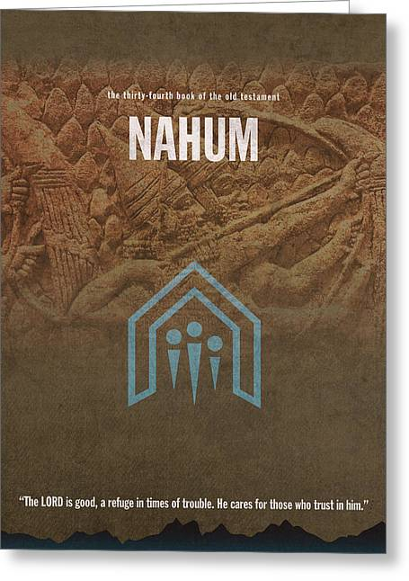 Nahum Books Of The Bible Series Old Testament Minimal Poster Art Number 34 Greeting Card by Design Turnpike