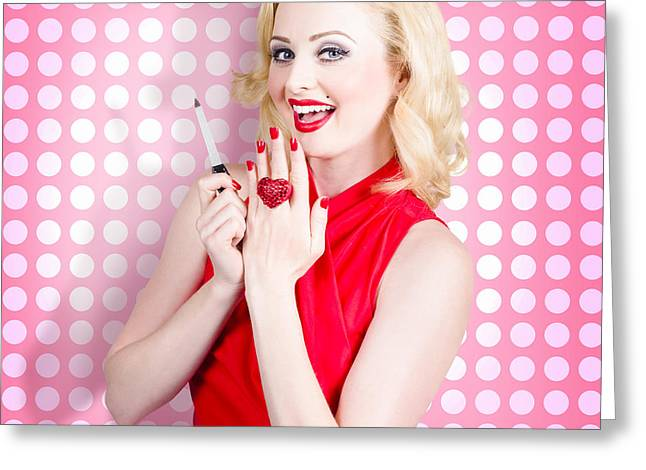 Nail Hand Model. Retro Pinup Girl With Red Nails Greeting Card