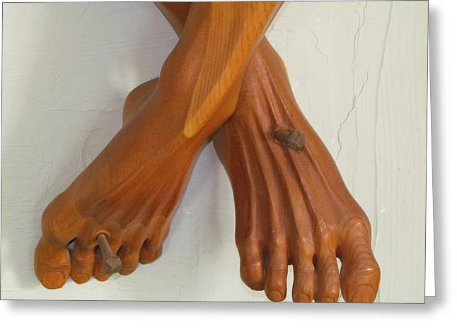 Feet Sculptures Greeting Cards - Nailed again Greeting Card by Michael Semsch