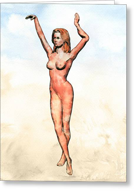 Naked Dance Pop Art By Mary Bassett Greeting Card