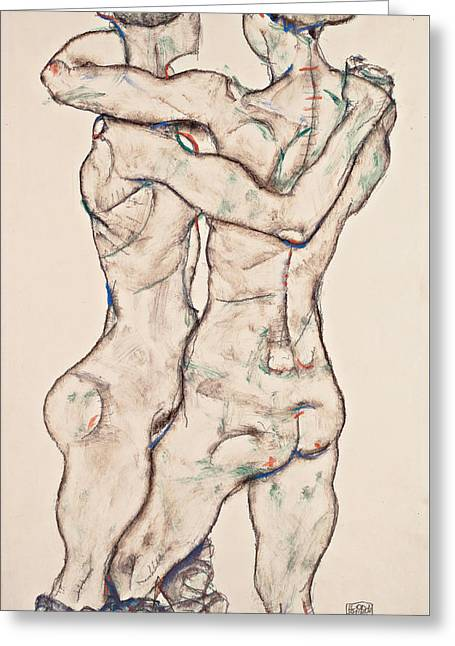 Naked Girls Embracing 1914 Greeting Card by Egon Schiele