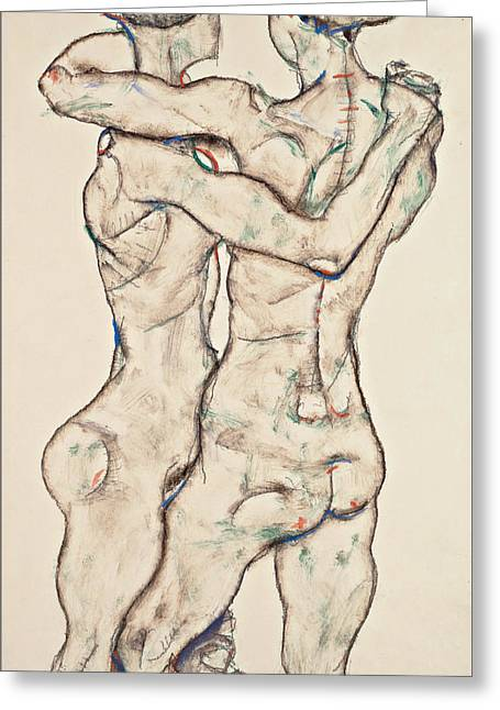 Naked Girls Embracing Greeting Card by Egon Schiele