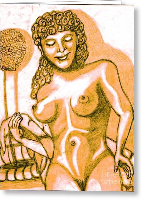 Naked Goddess Greeting Card by Richard Heyman