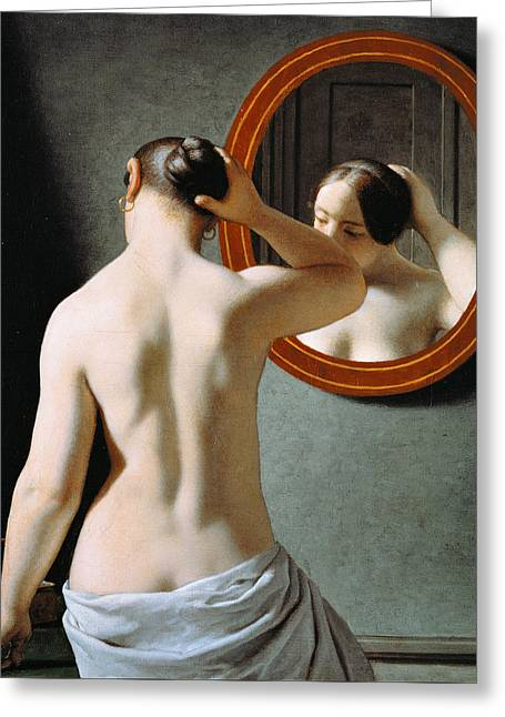 Naked In The Mirror Greeting Card by Johan Frederik Eckersberg