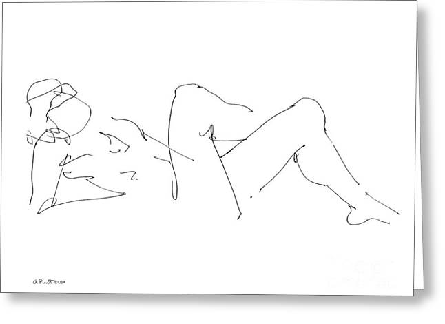 Gordon Punt Greeting Cards - Naked-Male-Drawing-14 Greeting Card by Gordon Punt