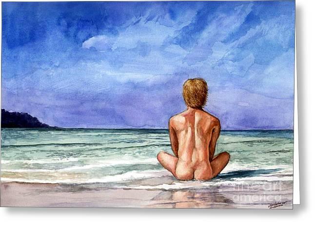 Naked Male Sleepy Ocean Greeting Card