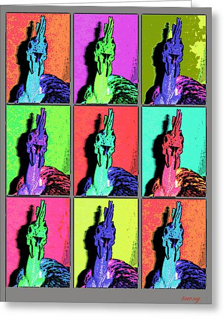 Naked Neck Rooster Warhol Style Greeting Card
