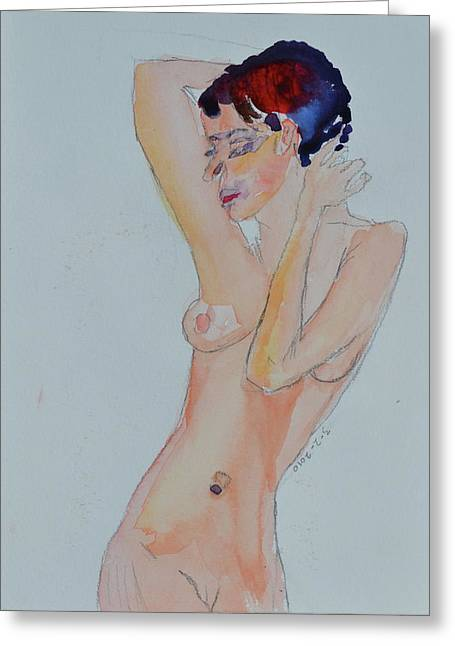 Greeting Card featuring the painting Naked Noelle by Beverley Harper Tinsley