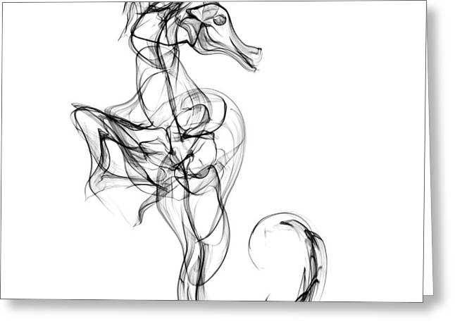 Naked Seahorse Greeting Card by Abstract Angel Artist Stephen K