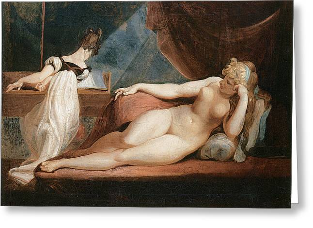 Naked Woman And Woman Playing The Piano Greeting Card by Johann Heinrich Fussli