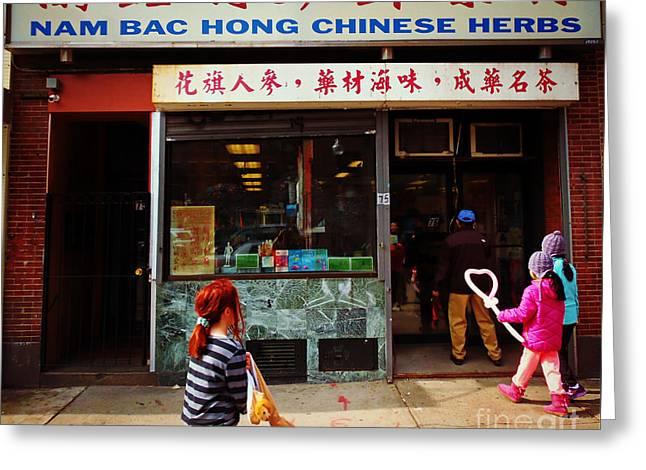 Nam Bac Hong Chinese Herbs, Chinatown, Boston, Massachusetts Greeting Card