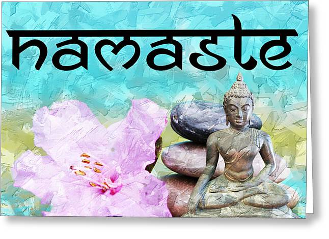 Greeting Card featuring the mixed media Namaste Buddha by Lita Kelley
