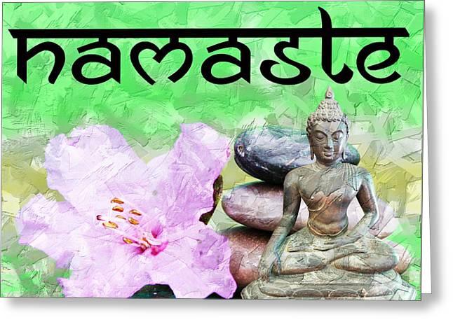 Greeting Card featuring the mixed media Namaste Buddha. V2 by Lita Kelley